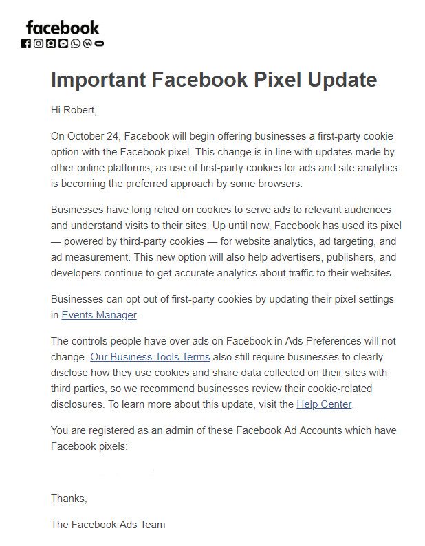 Facebook First-Party Cookie Update